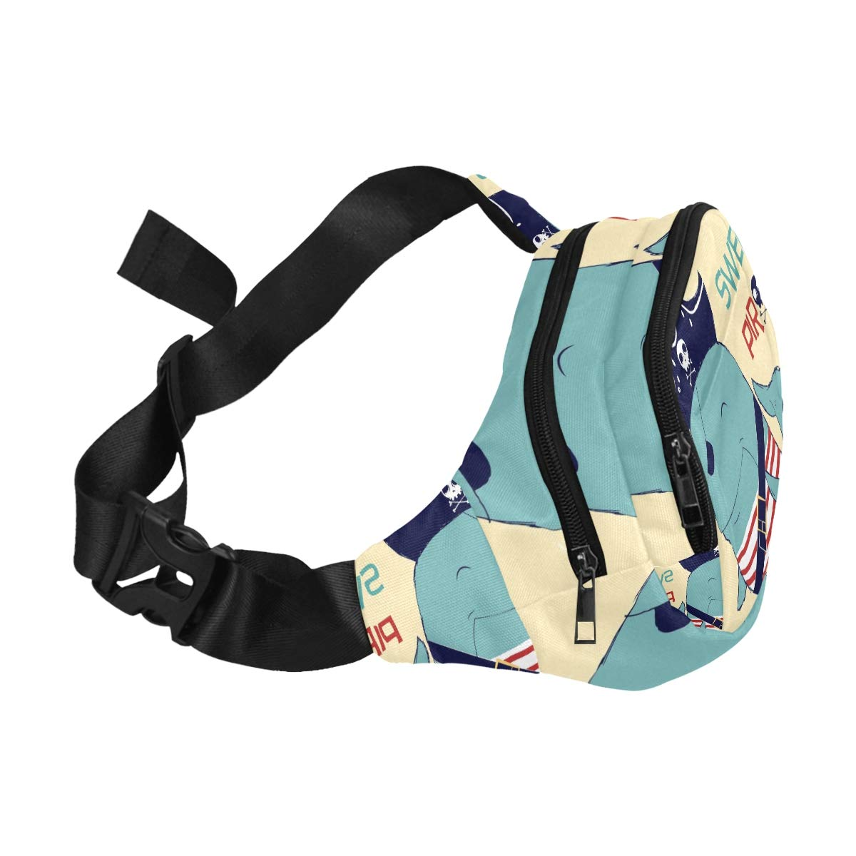 Cartoon Pirate Shark With Shipwreck Fenny Packs Waist Bags Adjustable Belt Waterproof Nylon Travel Running Sport Vacation Party For Men Women Boys Girls Kids