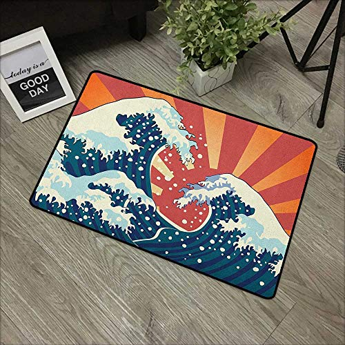(Bathroom mat W24 x L35 INCH Japanese Wave,Japanese Painting Style Summer Seasonal Backdrop Surf Water Abstract Sunset, Multicolor with Non-Slip Backing Door Mat Carpet)