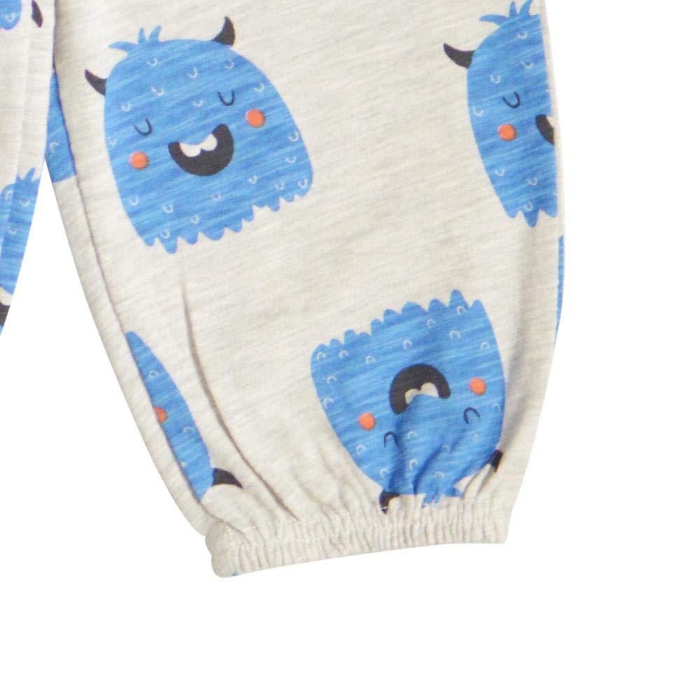 AFfeco Kids Boys Cartoon Animal Autumn Casual Loose Pants Flare Trousers Blue 2-3Y