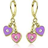 Hypoallergenic Earrings For Girls Sensitive Ears Cute Earrings With 2 Dangle Hearts 18 K Gold Plated Safety Back Earrings Leverback Earrings For Kids Girls Earrings with Dazzle Kids Earrings for Girls