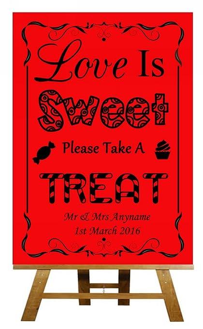 A3 Vintage rojo barra de amor es dulce caramelo carro Buffet boda cartel