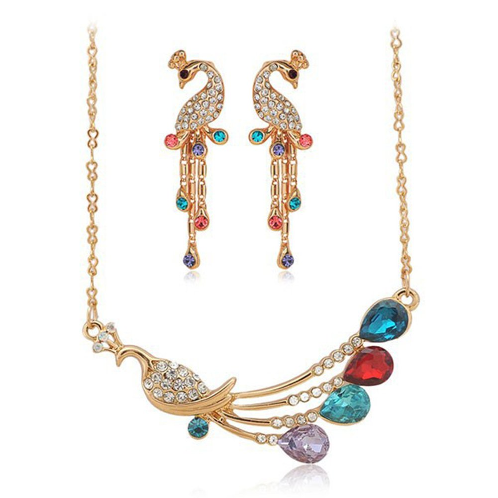 Trendy Party Jewely Set Fashion Wedding Jewelry Gold Plated AmaranTeen