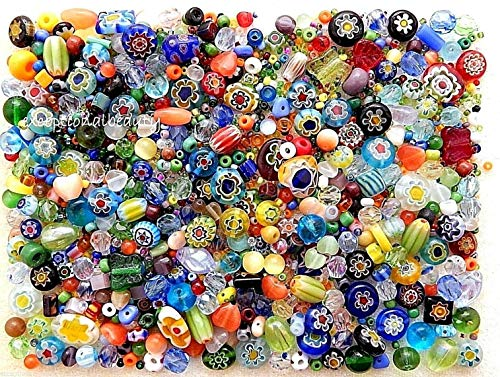 - 1/4 LB Assorted Czech Glass Millefiori Flowers Cat Eye Bulk Lot Spacer Beads