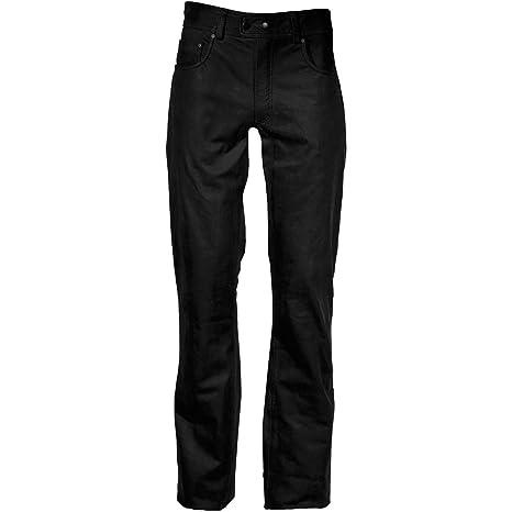 modeka stemp Mujer Piel Pantalones vaqueros - Negro: Amazon ...
