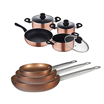 San Ignacio Set COPPER - 3 Sartenes y Batería 7 pcs.: Amazon ...
