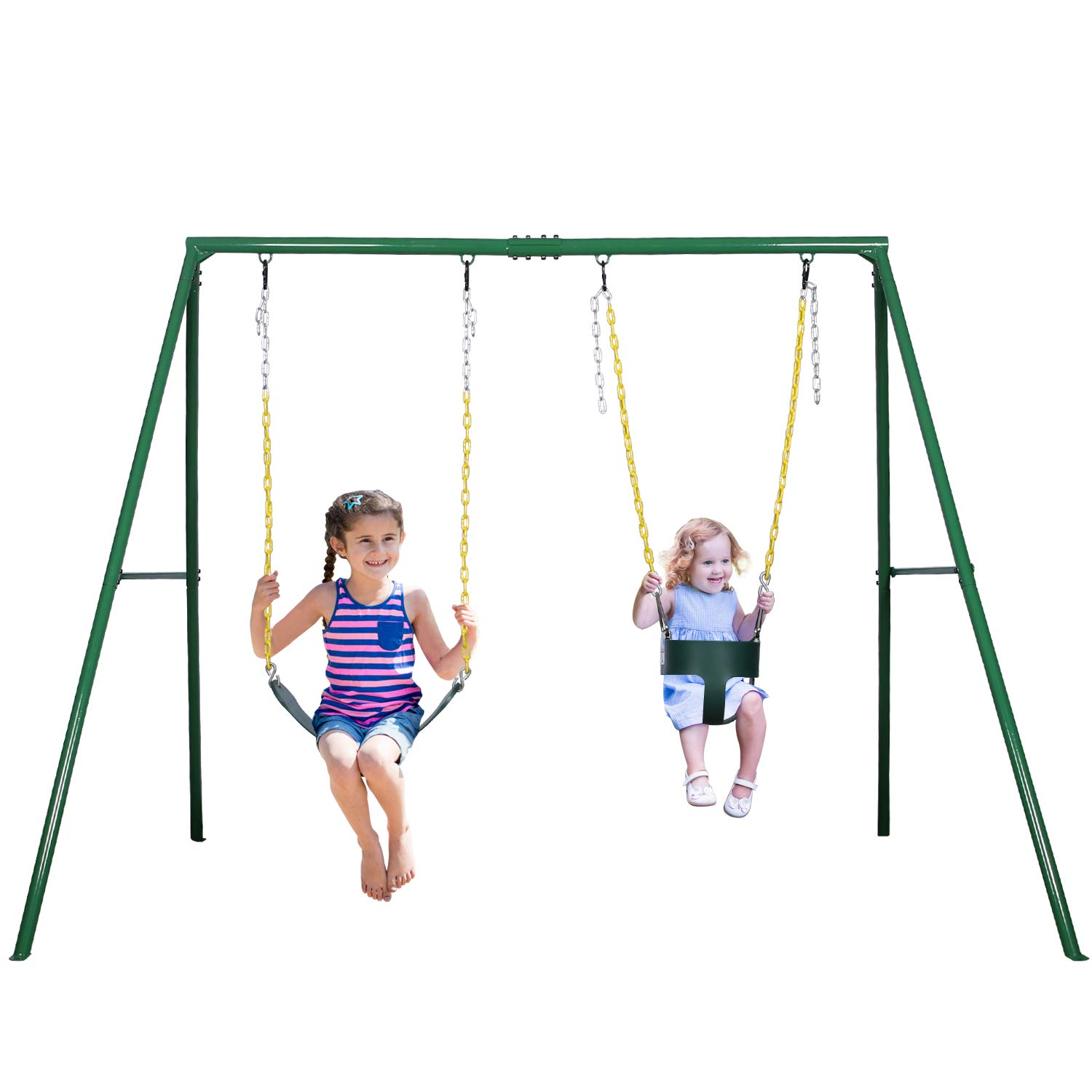 Trekassy 2 Seat Swing Set, 1 Belt Swing Seat and 1 Toddler Swing Seat with 440lbs Heavy Duty A-Frame Metal Swing Stand by Trekassy