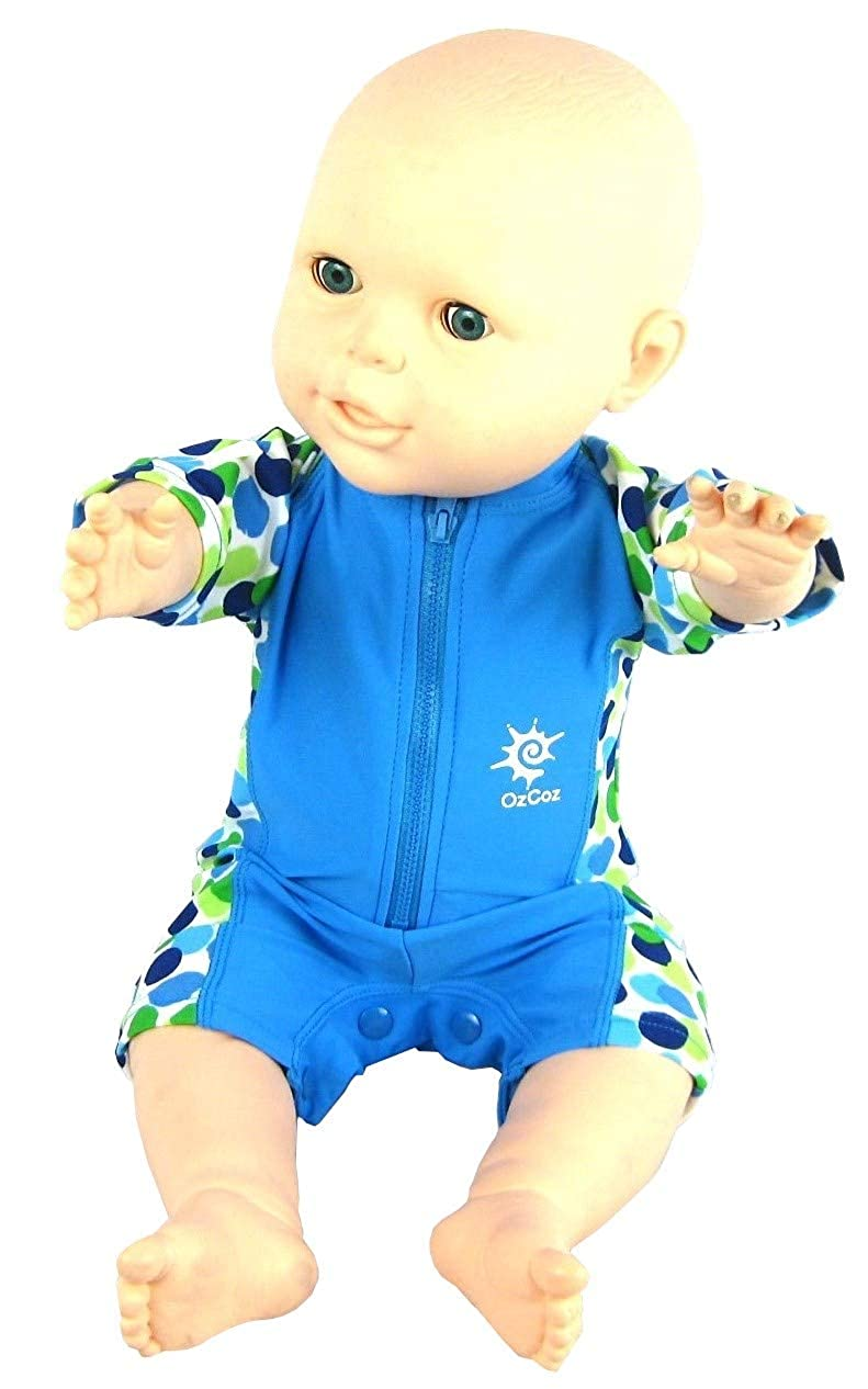 OZCOZ Baby Boys UV 50+ Sun Protection Swim Suit 3 to 18 Months Easy Change Poppers Blue