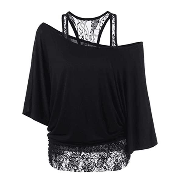Scothen Señoras atractivas tapas de la camiseta blusa blusa con cuello de encaje de manga corta blusa bate alas de murciélago camiseta tops camisa: ...