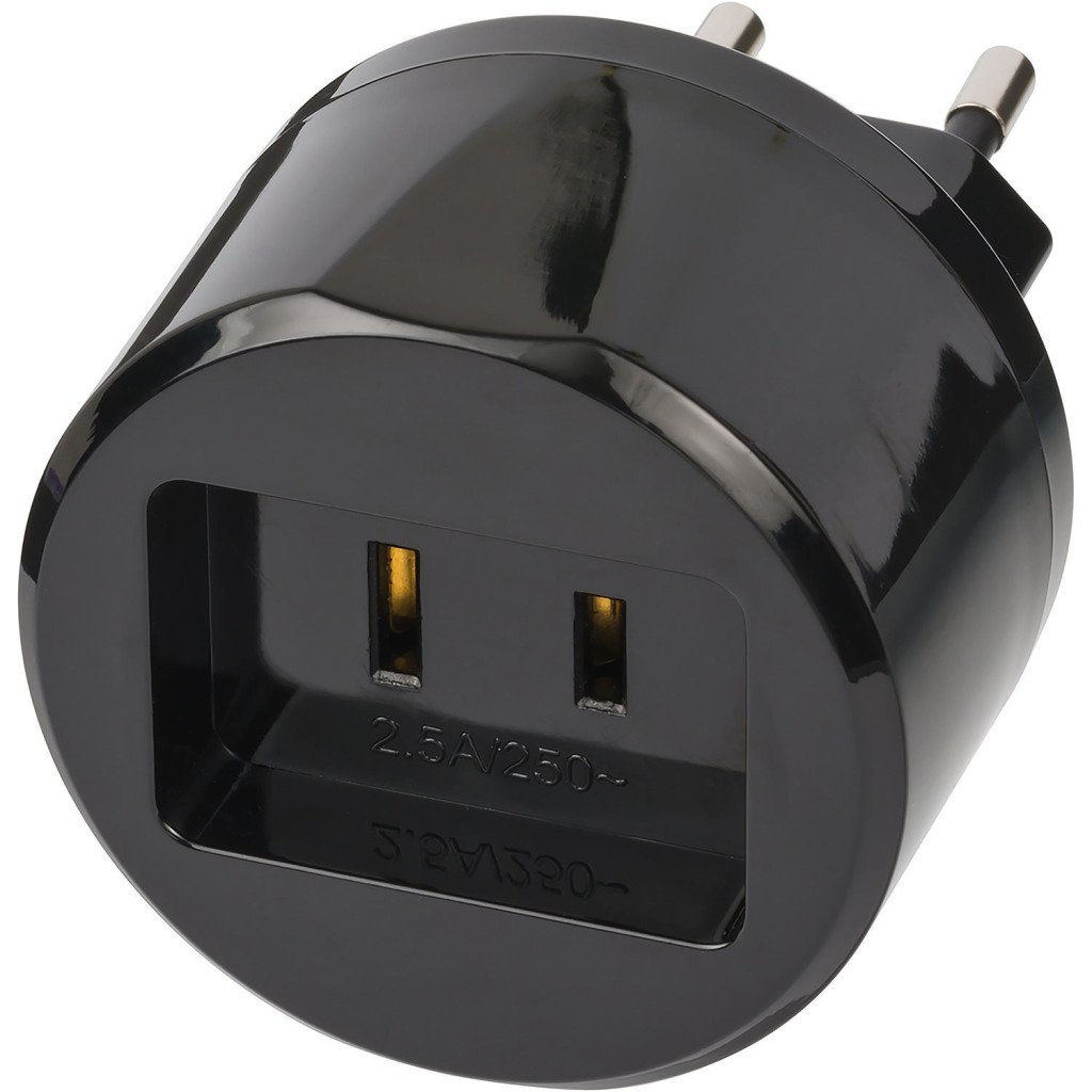 Brennenstuhl 1508500010 Tipo A Tipo C (Europlug) Negro Adaptador de Enchufe elé ctrico - Adaptador para Enchufe (Tipo A, Tipo C (Europlug), 2,5 A, Negro)