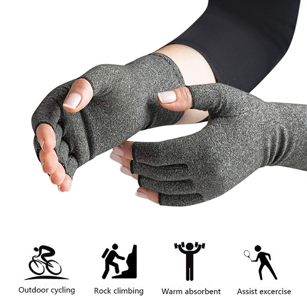 Arthritis Compression Gloves Relieve Pain from Rheumatoid, Carpal Tunnel, Hand Gloves Fingerless for Computer Typing and Dailywork(2 Pairs),S by SUN RDPP Arthritis Gloves (Image #5)
