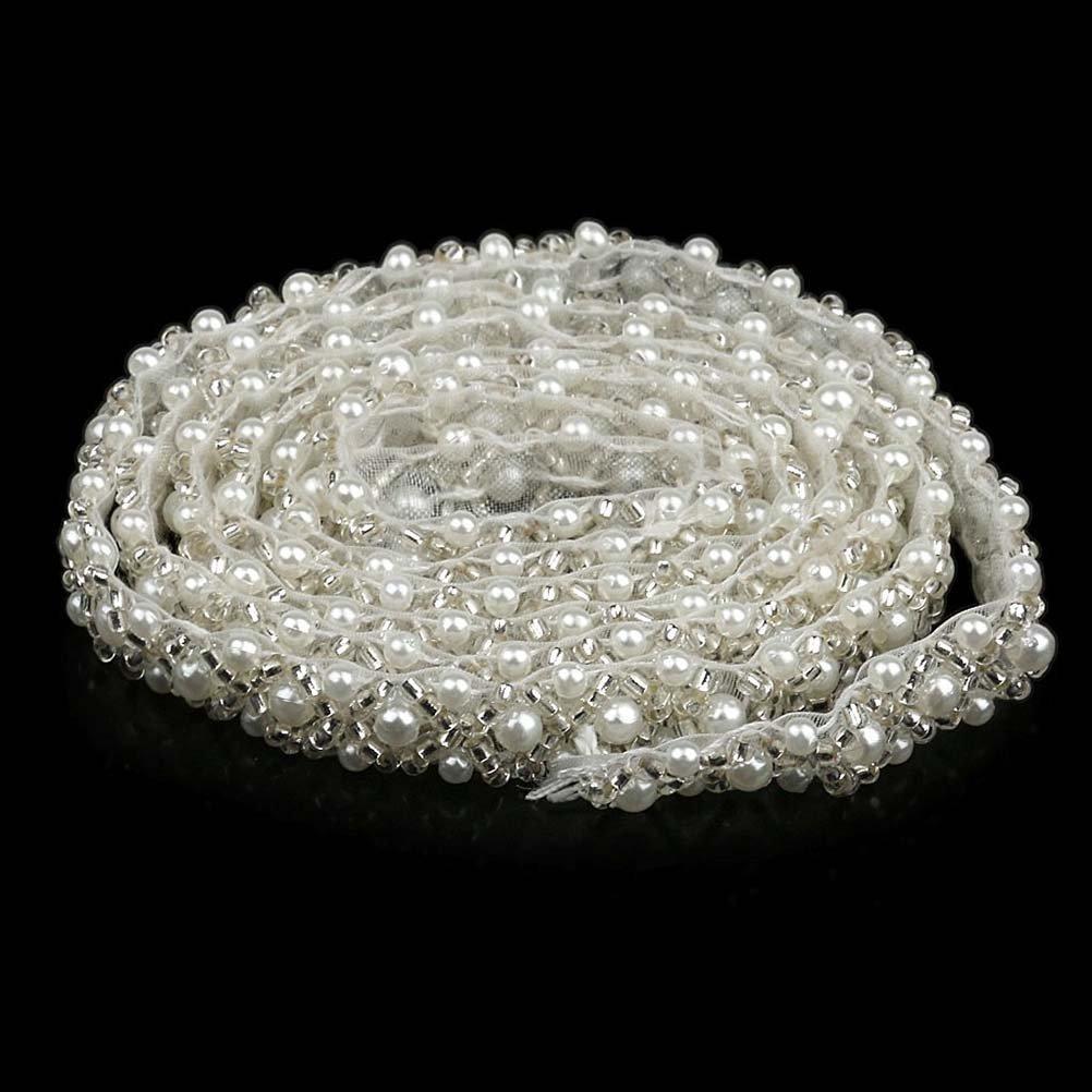 Winomo catena strass di cristallo a forma di rombo t-shirt collare applique cucire abito da sposa cucito fai da te (bianco) TRTAZ11A
