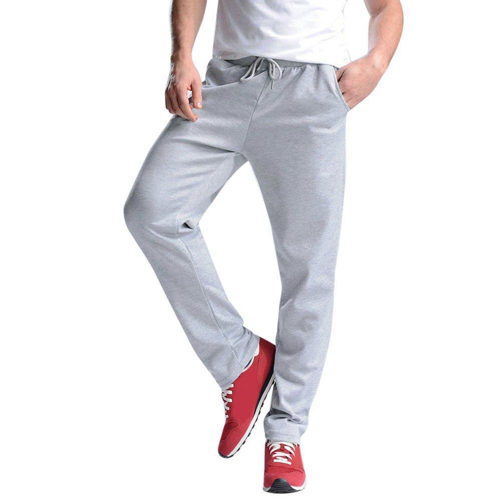 Hunzed Men【Cotton Loose Sweatpants】 Men's Joggers Open Bottom Light Weight Jersey Pants (3XL, Gray)