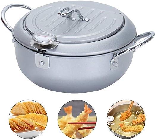 Freidora con termómetro, mini sartén profunda con escurridor Mini sartén profunda, un buen ayudante para cocinar de su familia (A1) sartén con revestimiento antiadherente,: Amazon.es: Hogar