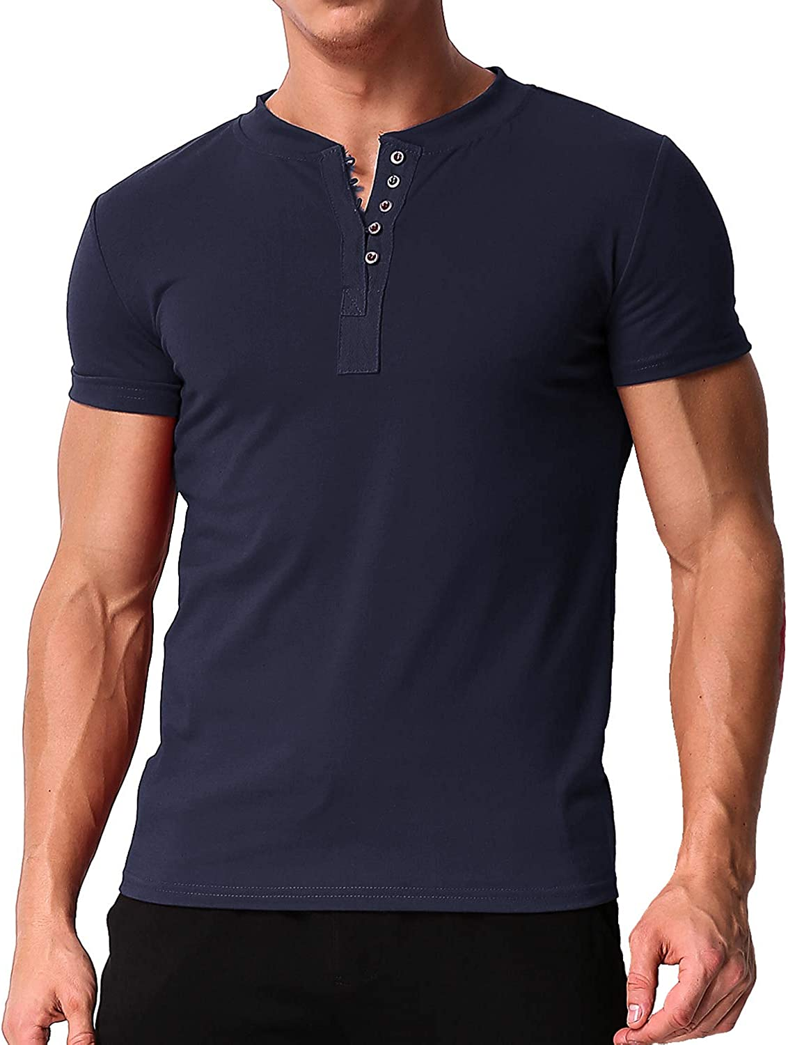 Mens Casual Solid Button T-Shirt Quick Dry Performance Muscle Fitness Henley Short Sleeve Crew/&V-Neck Sport Tee by Leegor