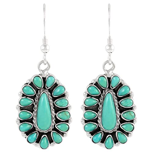 Turquoise Earrings in 925 Sterling Silver Genuine Gemstones