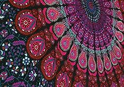 Madhu International Mandala Bohemian Tapestry Wall Hanging, Psychedelic Wall Art, Dorm Décor Beach Throw, Indian Wall Tapestries