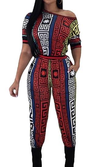 26d4d65ebe2e Amazon.com  HTOOHTOOH Womens Stylish Round Neck Print Bodycon Long Rompers  Jumpsuit  Clothing