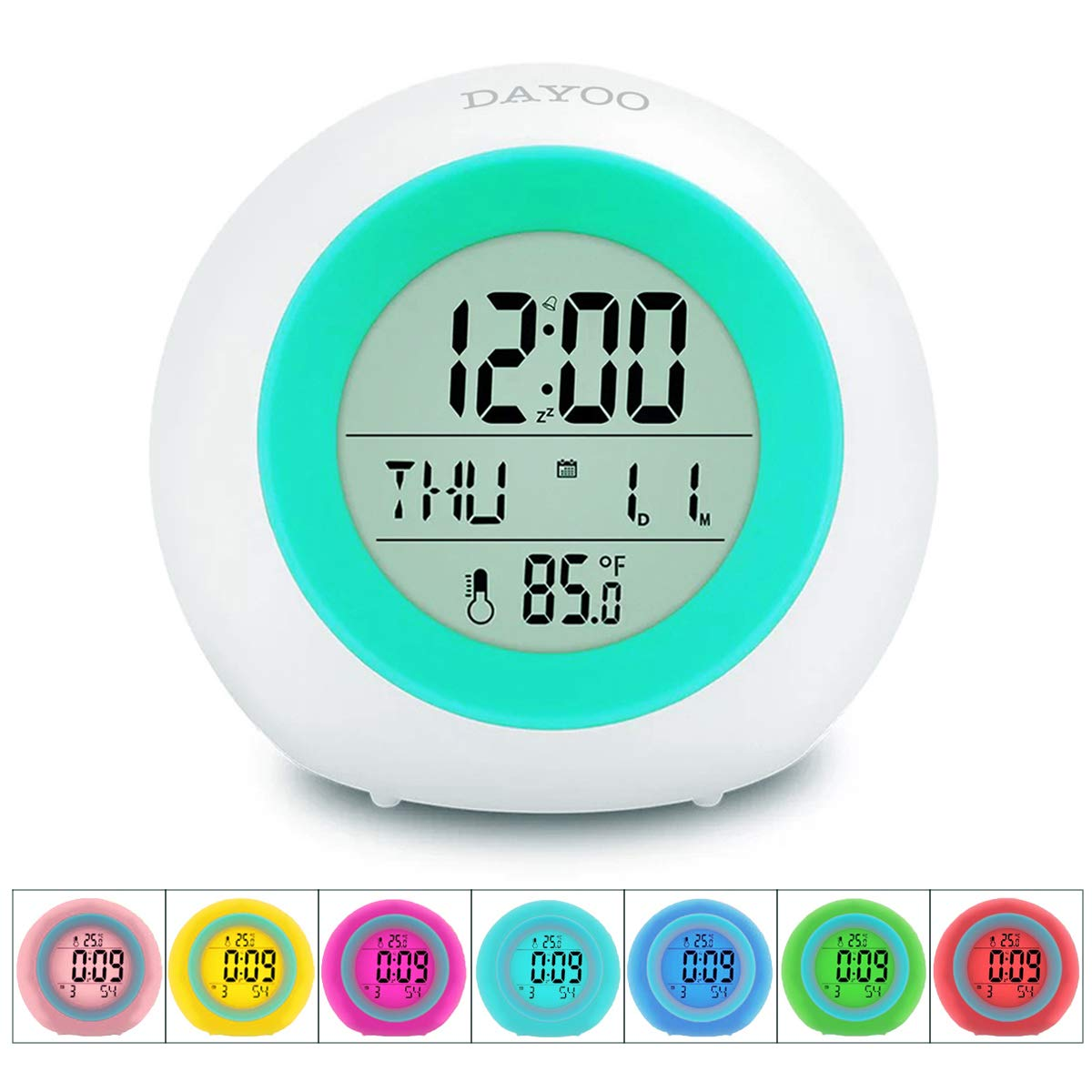 Kids Alarm Clock[2019 Version] , Student Wake Up Digital Clock for School, 7 Color Changing Night Light Clock for Boys Girls Bedroom, Children's Clock with Indoor Temperature, Touch Control and Snooze by DAYOO