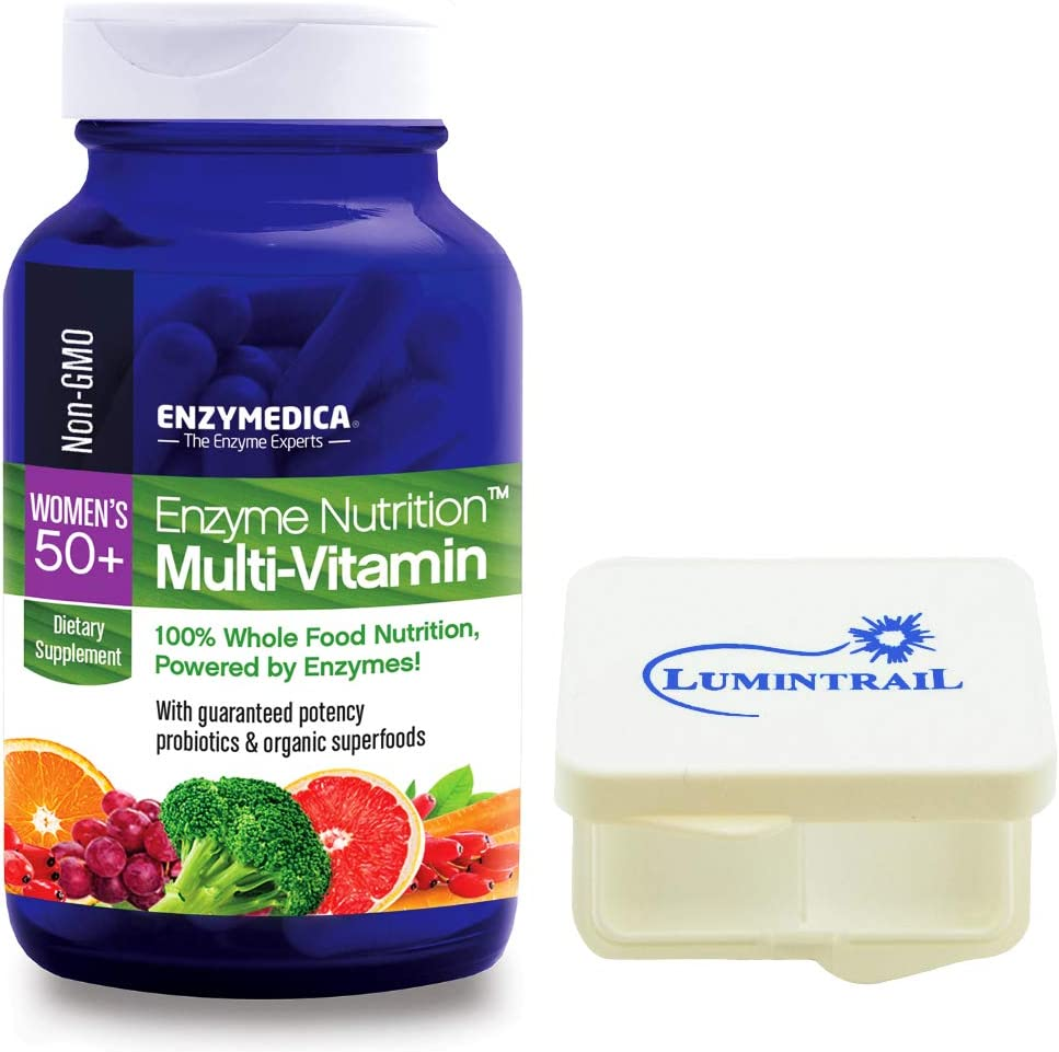 Enzyme Nutrition Women s 50 Plus Multi-Vitamin, Whole Foods 120 Capsules Bundle with a Lumintrail Pill Case