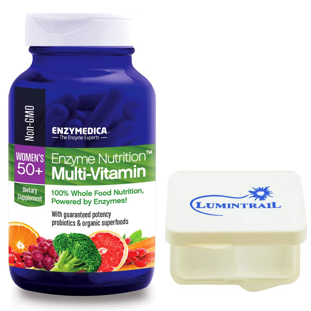 Enzyme Nutrition Women's 50 Plus Multi-Vitamin, Whole Foods 120 Capsules Bundle with a Lumintrail Pill Case by Enzymedica