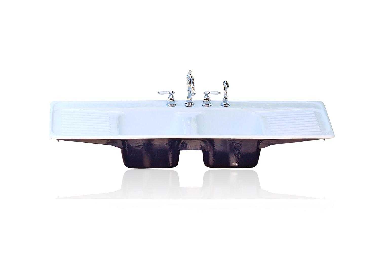 Farm Sink With Drainboard.Amazon Com Large 60 Double Basin Farm Sink Double