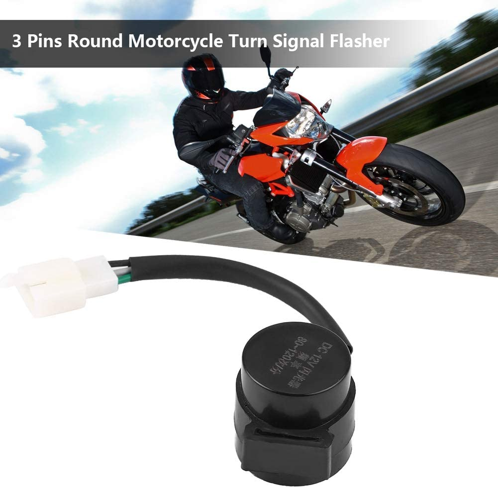 Automotive Signal Light Assemblies 3 Pins Round Turn Signal Flasher Relay Blinker for GY6 50-250cc Motorcycles Scooters Moped ATV