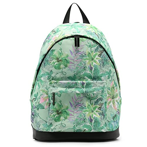 VHVCX Las mujeres forman Impresión Mochila verde de las señoras de cuero fresco de flores Volver Mochilas de tela suave mochilas impermeables: Amazon.es: ...