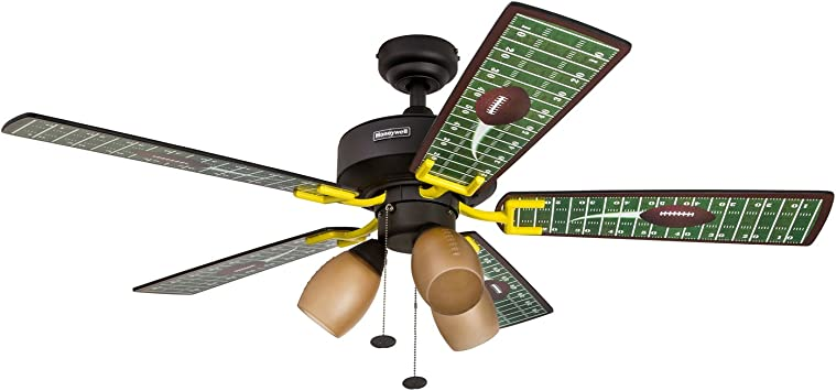 Honeywell Touchdown 48 Inch Football Ceiling Fan With Amber Shade Lights Five Football Themed Blades Matte Black Amazon Com