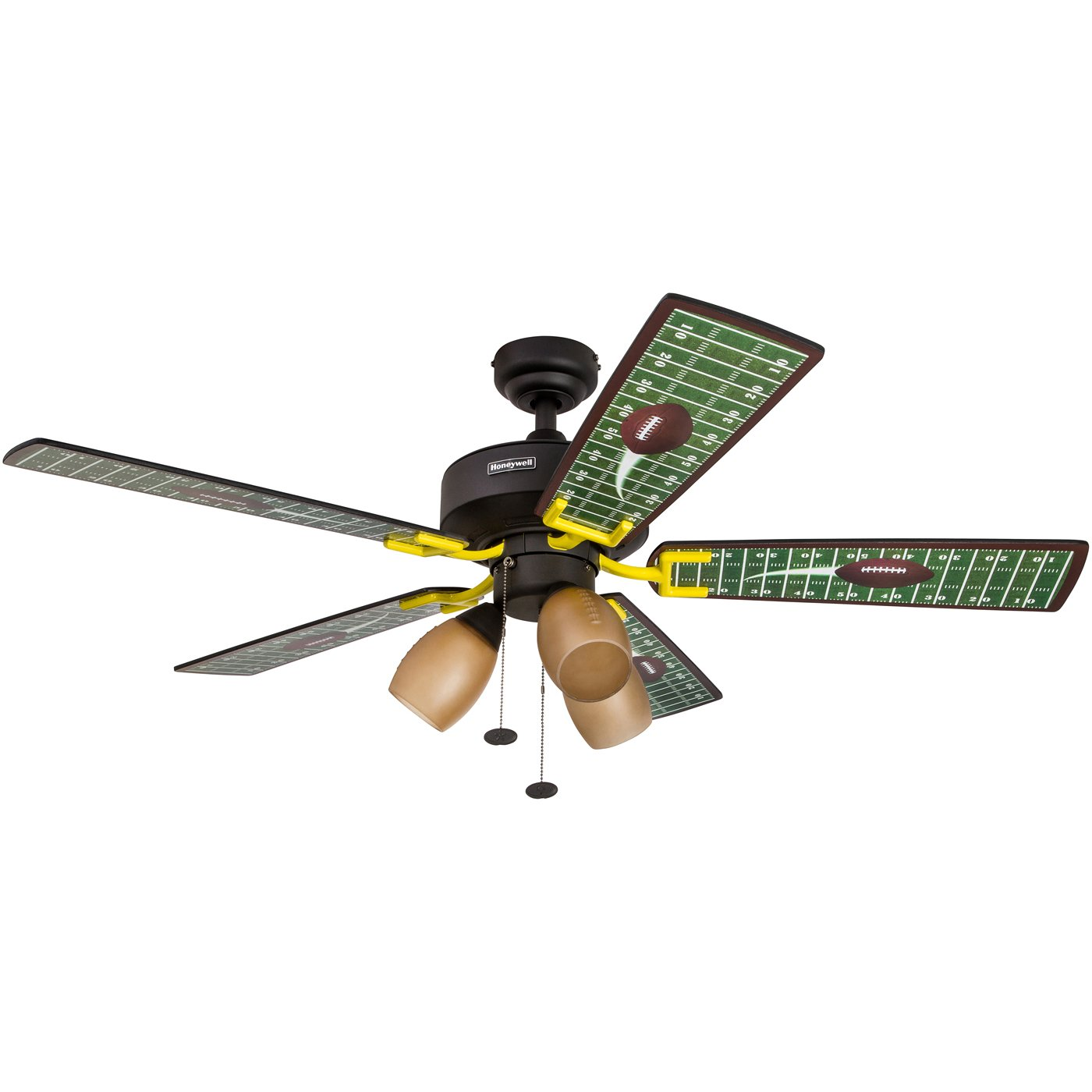 Honeywell Touchdown 48-Inch Football Ceiling Fan with Amber Shade Lights, Five Football Themed Blades, Matte Black