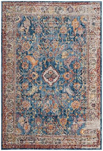 Safavieh Bristol Collection BTL361C Blue and Light Grey Vintage Oriental Distressed Area Rug (6' x 9')