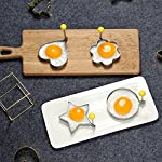 ShengHai Fried Egg Mold Ring Pancake Cooker, Nonstick Stainless Steel Egg Form for Frying Cooking, Set of 4 With 1 Free Silicone Brush 14 ENJOY A COLORFUL BREAKFAST - 4PCS Different Shapes Fried Egg Ring Set: heart; Star; Round and Plum Flower. Avoid boring. Special design for cooking eggs or pancakes for your lover as well as your family. Cute for Fun Food - You can make pancake or egg more interesting with funny shapes. Good for the picky eater especially kids. HIGHER QUALITY: Made of food grade stainless steel. You can also use the egg and pancake molds to make any delicacy you can think about, such as cookies, dessert, jelly, pastry, chapatti. Just have them and get your imagination started!