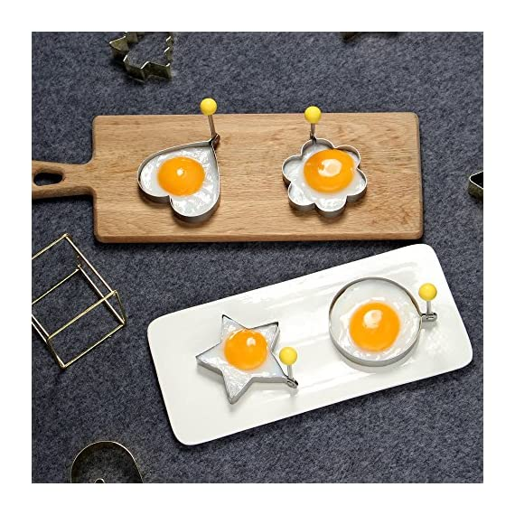 ShengHai Fried Egg Mold Ring Pancake Cooker, Nonstick Stainless Steel Egg Form for Frying Cooking, Set of 4 With 1 Free Silicone Brush 5 ENJOY A COLORFUL BREAKFAST - 4PCS Different Shapes Fried Egg Ring Set: heart; Star; Round and Plum Flower. Avoid boring. Special design for cooking eggs or pancakes for your lover as well as your family. Cute for Fun Food - You can make pancake or egg more interesting with funny shapes. Good for the picky eater especially kids. HIGHER QUALITY: Made of food grade stainless steel. You can also use the egg and pancake molds to make any delicacy you can think about, such as cookies, dessert, jelly, pastry, chapatti. Just have them and get your imagination started!
