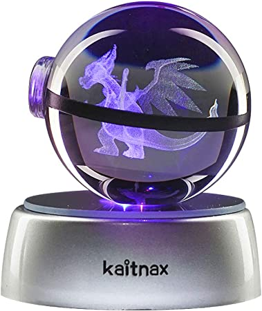 Charmander Boule de Cristal Veilleuse 3D Crystal Ball Pokemon S/érie Boule de Cristal Veilleuse Lampe LED 3D en Forme de Boule de Cristal pour Enfants Laser Engraving Gift