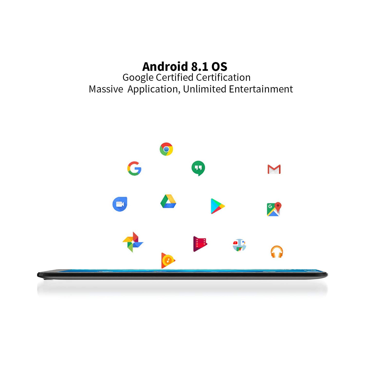 Tablet 10 Android WiFi - Winnovo M10 10.1 Pollici Quad Core 16GB HD Touch Display Bluetooth Google Certified Android 8.1, Nero