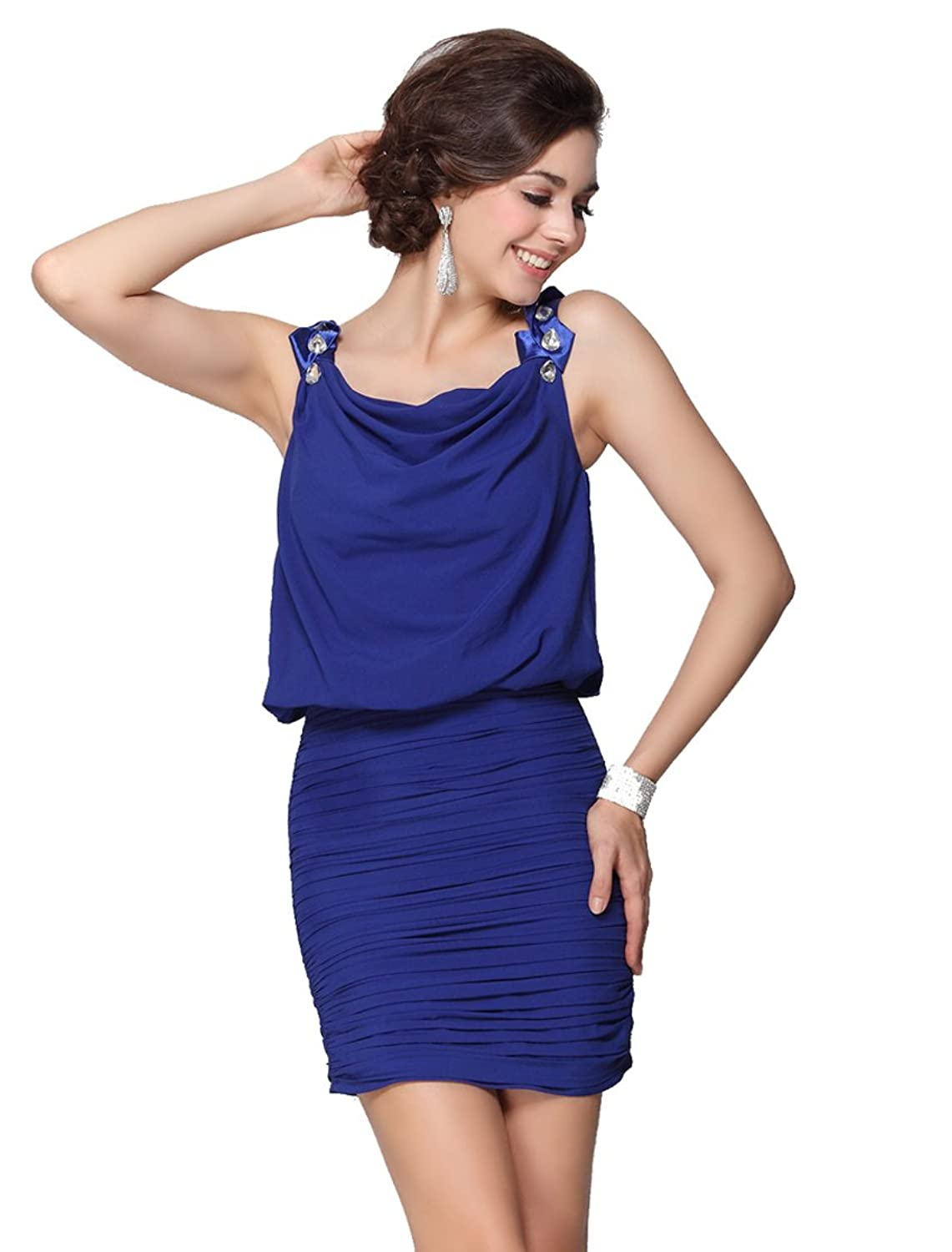 Ever Pretty Sexy Cowl Neckline Ruched Bottom Cocktail Party/Club Dress 03595