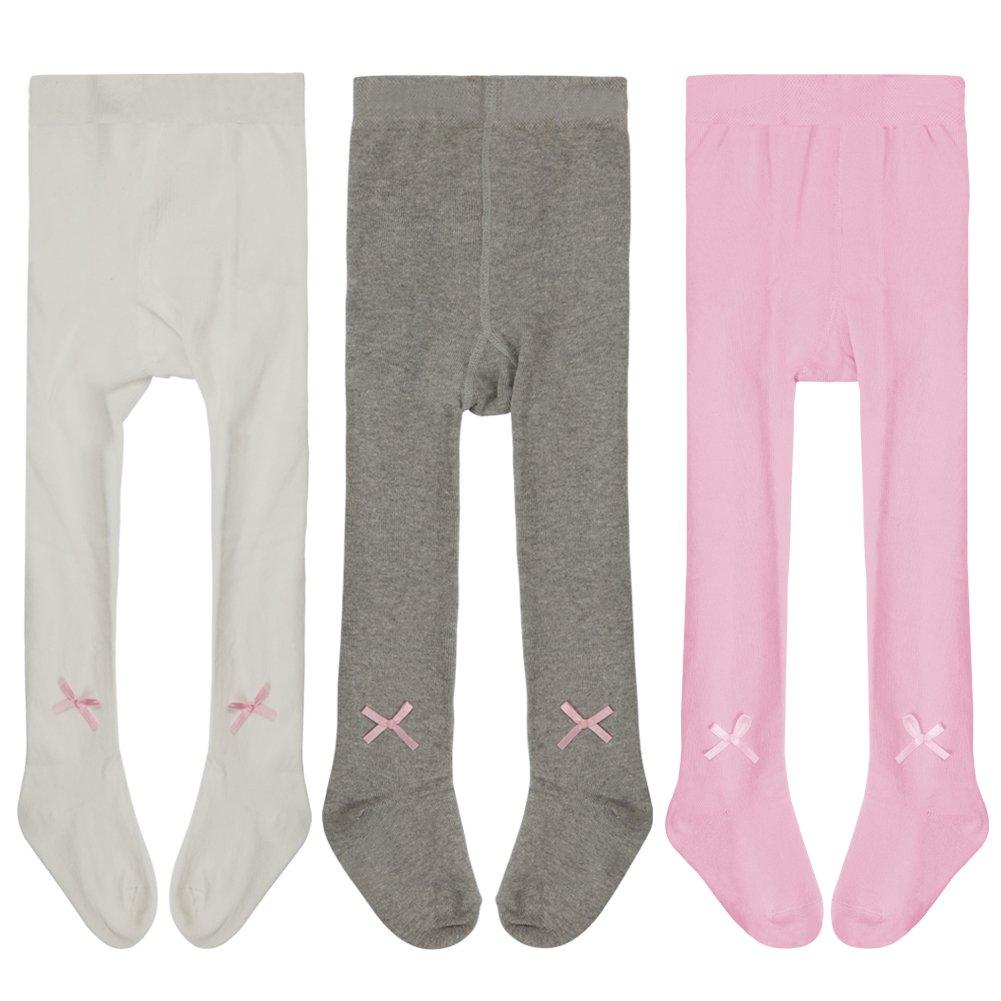 Baby Girls Cotton Tights Pantyhose Stockings Legging Pants Knit Winter Long Socks Leekey (3-4 Years, 3 Pairs)