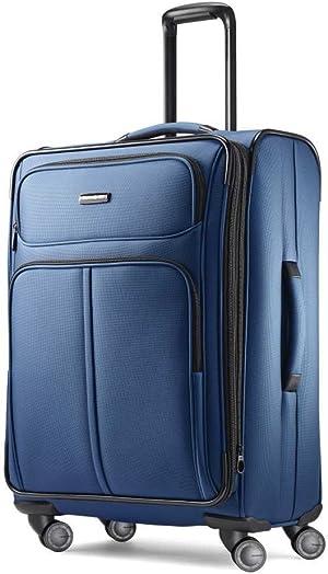 Samsonite Leverage LTE Softside Expandable Luggage with Spinner Wheels, Poseidon Blue, Checked-Medium 25-Inch