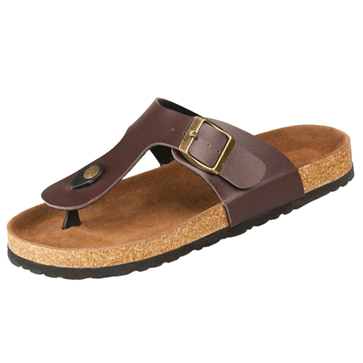SODIAL(R)New cork flats sandals men and women summer flip flops unisex casual slippers shoes size 7 Brown