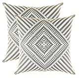 Decorative Pillow Cover - TreeWool, Soft Cotton Kaleidoscope Accent Decorative Throw Pillow Covers (2 Cushion Covers; 18 x 18 Inches; Graphite & White)