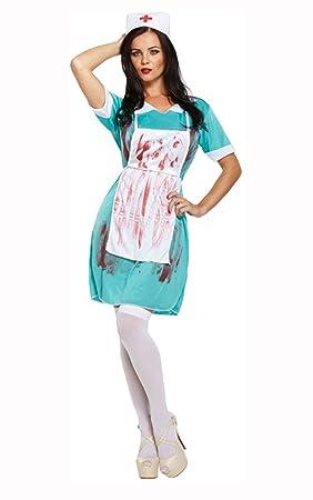 Ladies Zombie Nurse Costume Scrub Nurse Bloody Dead Nurse Halloween Fancy Dress