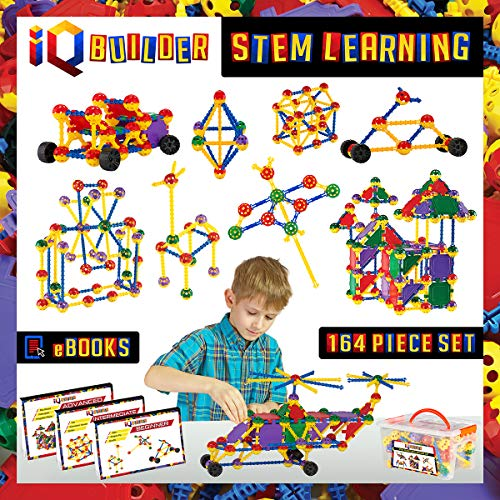 IQ BUILDER | STEM Learning Toys | Creative Construction Engineering | Fun Educational Building Toy Set for Boys and Girls Ages 3 4 5 6 7 8 9 10 Year Old | Best Toy Gift for Kids | Top Blocks Game Kit (Bionic Six Toys)