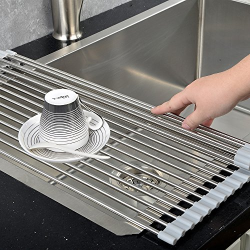 VCCUCINE Best Large Stainless Steel Kitchen Sink Roll Up Dish Drying Rack, Folding Brushed Nickel Drying Drainer Over Sink