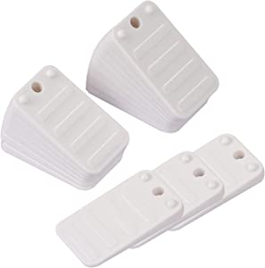 KEILEOHO 42 PCS Plastic Shims, White Furniture Levelers Durable Home Improvement DIY Levelers Perfect for Restaurant Tables, Toilet Shims Stackable Wedges for Door, Bed, Sofa, Sheds and More