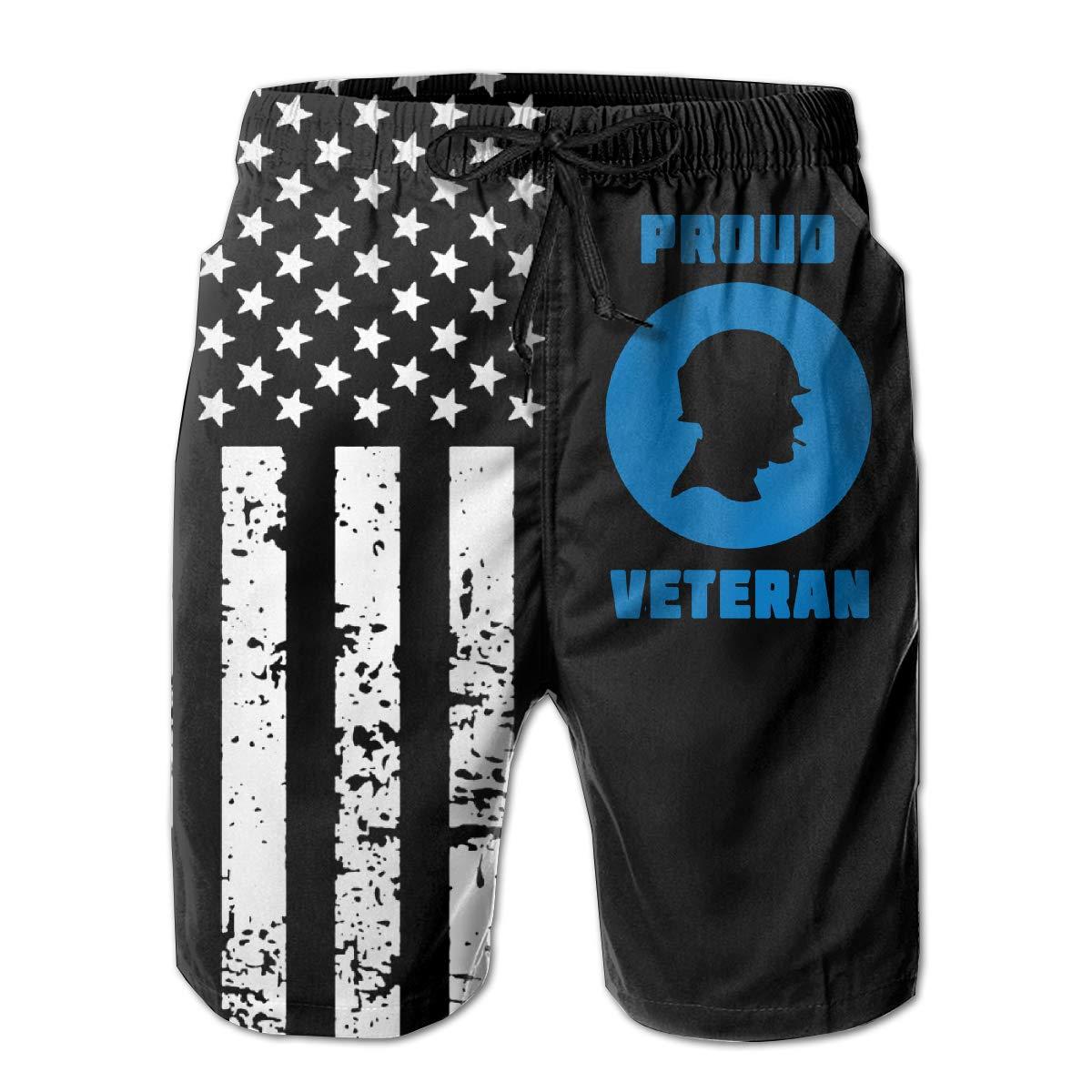 TBVS 79 Proud Veteran Mens Slim Fit Surf Beach Shorts for Men Boys