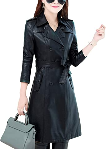 Tanming Womens Fashion Lapel Single Breasted Long PU Leather Jacket Trench Coat