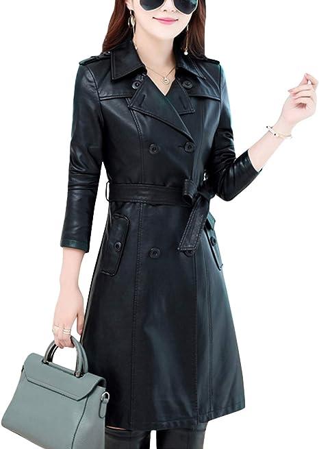 Amazon.com: Tanming - Abrigo de piel de cordero con doble ...