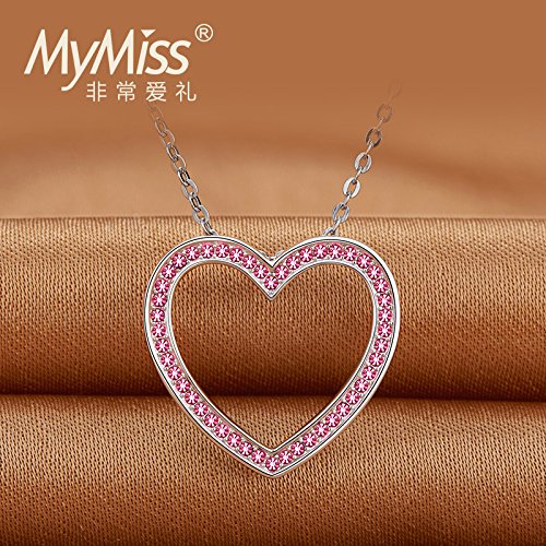 Generic Official_Mymis S925 sterling Silver _platinum_plated_ heart-shaped necklace Pendant necklace Pendant sweet women girl short _paragraph_ clavicle simple Chain by Generic