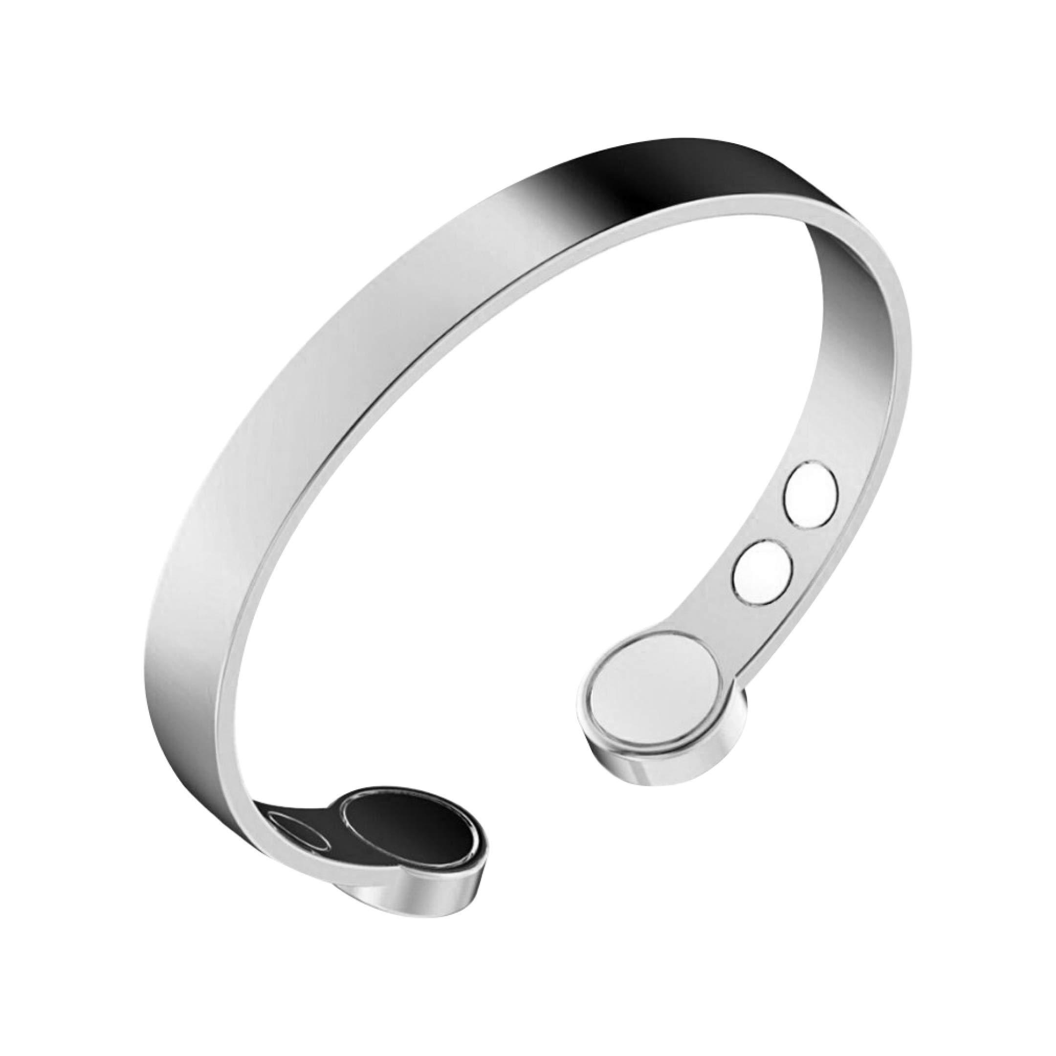 Rosian & Levine Copper Bracelet for Arthritis, Migraine & Pain Relief, Osteoarthritis, Menopause Support, Hot Flushes, Carpal Tunnel Silver Plated Magnetic Bracelets Sale Gift Men Women