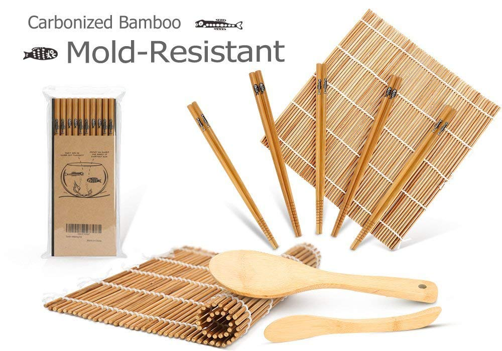 Bamboo Sushi Making Kit, Carbonized Rolling Mats for Mold-Resistant, Included 2 Rolling Mats - 5 Pairs Chopsticks - Paddle - Spreader, Roll on! Beginner Sushi Kit Delamu