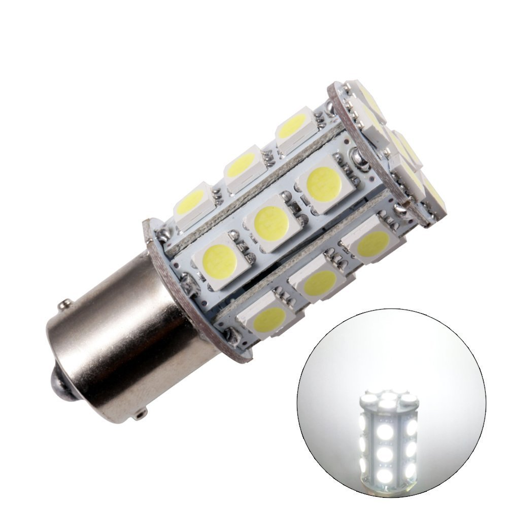 GRV Ba15s 1156 1141 High Bright Car LED Bulb 24-5050SMD DC 12V Cool White Pack of 2